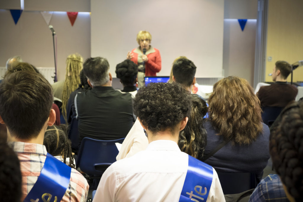 Margaret Hodge MP addresses the class